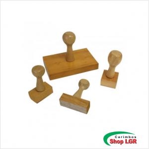 Carimbo de madeira até 3x3 cm - Artesanato