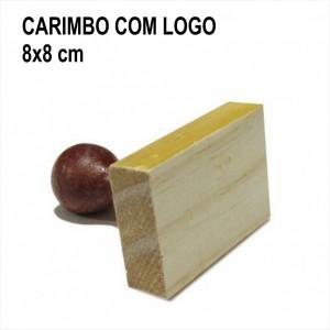 Carimbo de madeira com logo 8x8 cm
