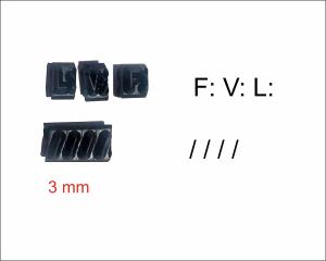 Letras para datador Absolute (V:, F: L: e barras) 3mm